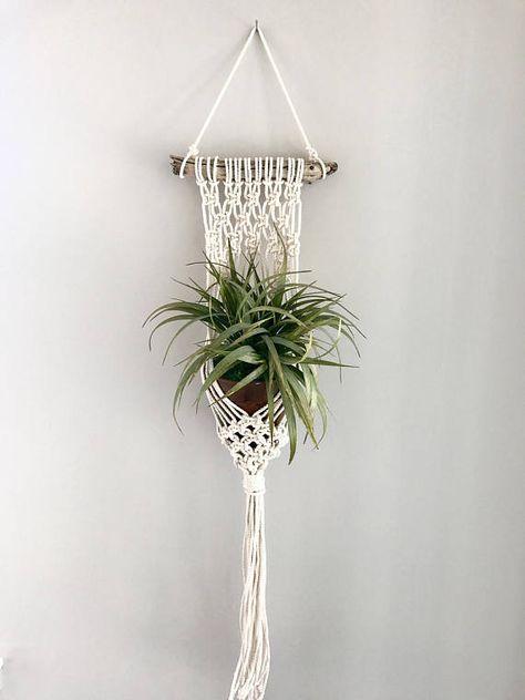 usine de macram cintre plantes en macram bois flott. Black Bedroom Furniture Sets. Home Design Ideas