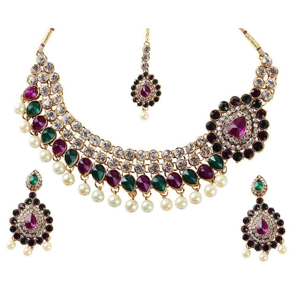 Kriaa purple and green austrian stone pearl drop gold finish