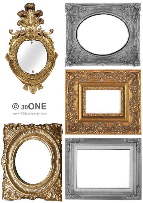 Printable Frames Digital Collage Sheet, Silver Mirror Frame A4