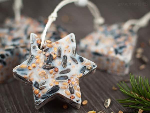 Vogelfutter Sterne Rezept > Süße Meisenknödel selber machen! #weihnachtsgeschenkeselbermachen