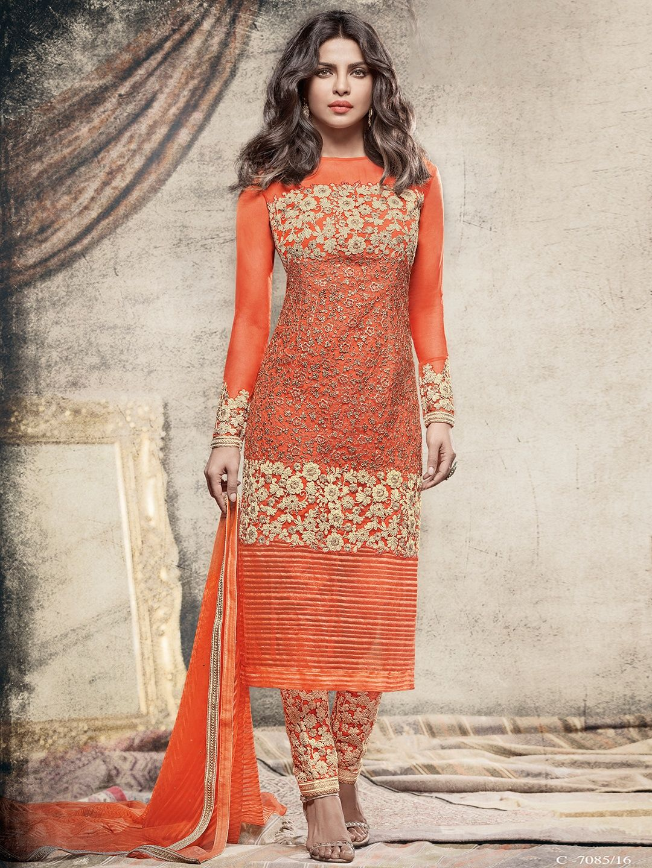 Designer salwar kameez mesmeric peach color net designer suit - Net Orange Designer Salwar Suit
