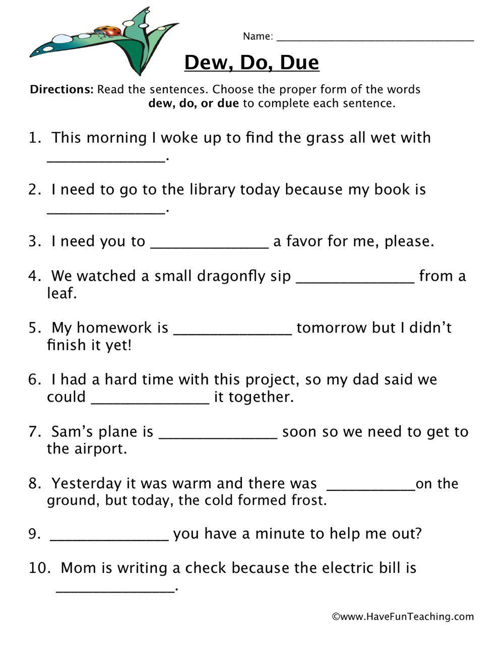 Dew Do Due Homophones Worksheet Homophones Worksheets Have Fun Teaching Homophones