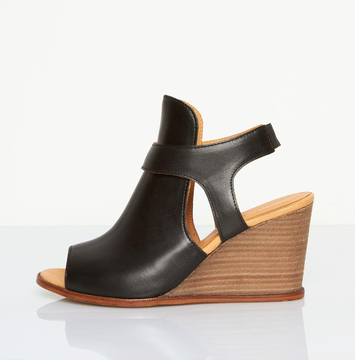 Maison Margiela Cutout Wedge Heel In Black Lyst Wedge Heels Wedges Black Heels Wedges