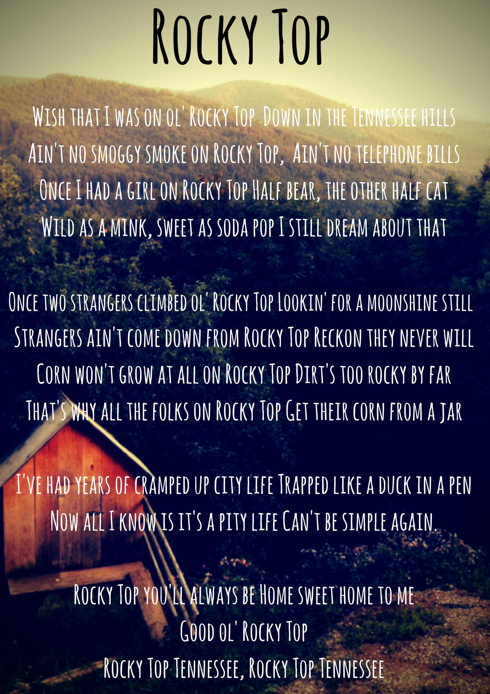 Rockytop Tennessee Lyrics Song Easttn Tn Smokies Rocky Top Rocky Top Tennessee Tennessee