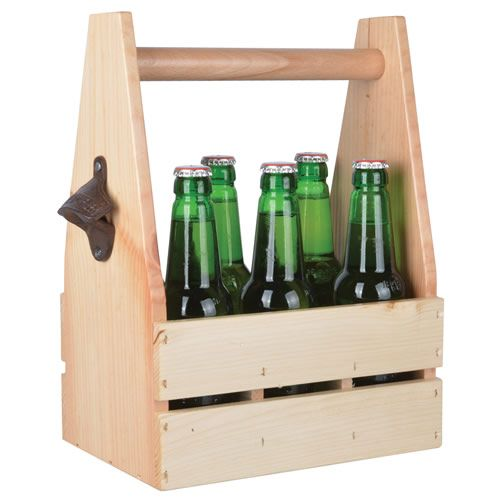 Wooden bottle carry crate with bottle opener