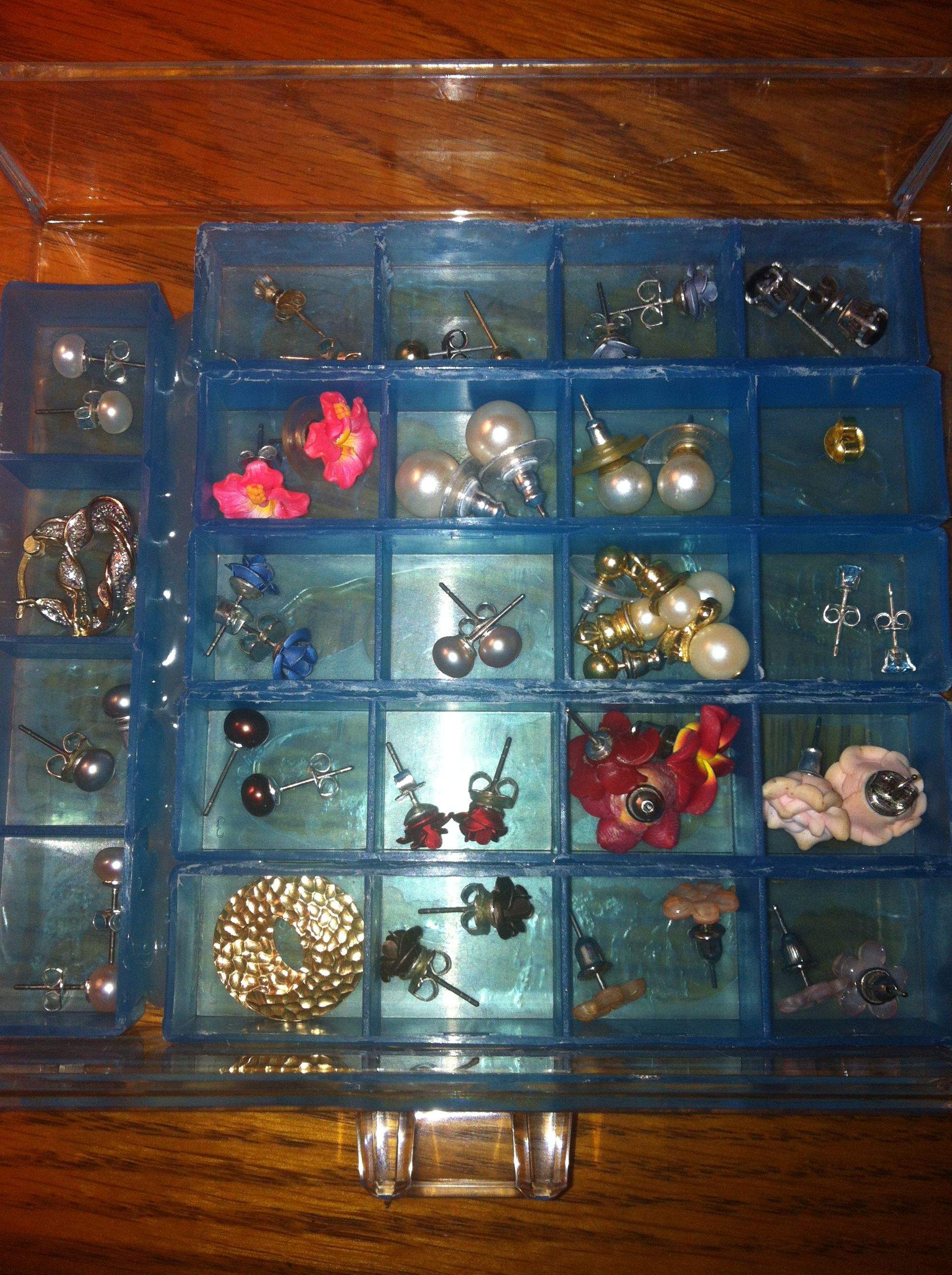 Clear lucite jewelry drawer with pill organizer sections with the tops cut off for organization of small earrings.  It works so well, I'm going to do another.