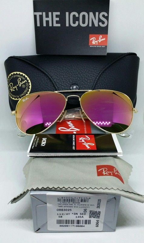 7bf25471ae Authentic RAY-BAN 3025 114/4T Cyclamen flash / Magenta / Hot Pink mirrored  aviator