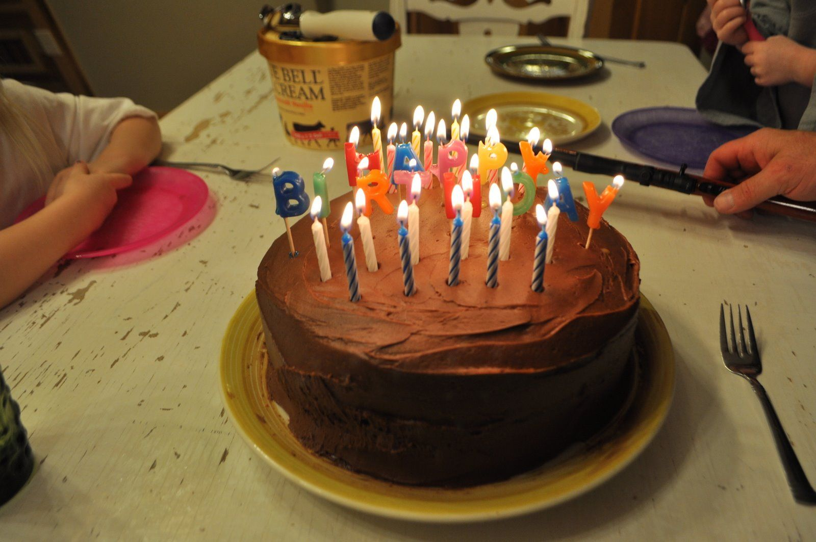 chocolate birthday cake with candles   Birthday Cake ...