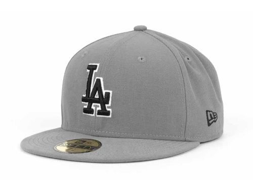 bee4461d186 Los Angeles Dodgers New Era MLB Gray BW 59FIFTY Cap Hats Size 7 1 8
