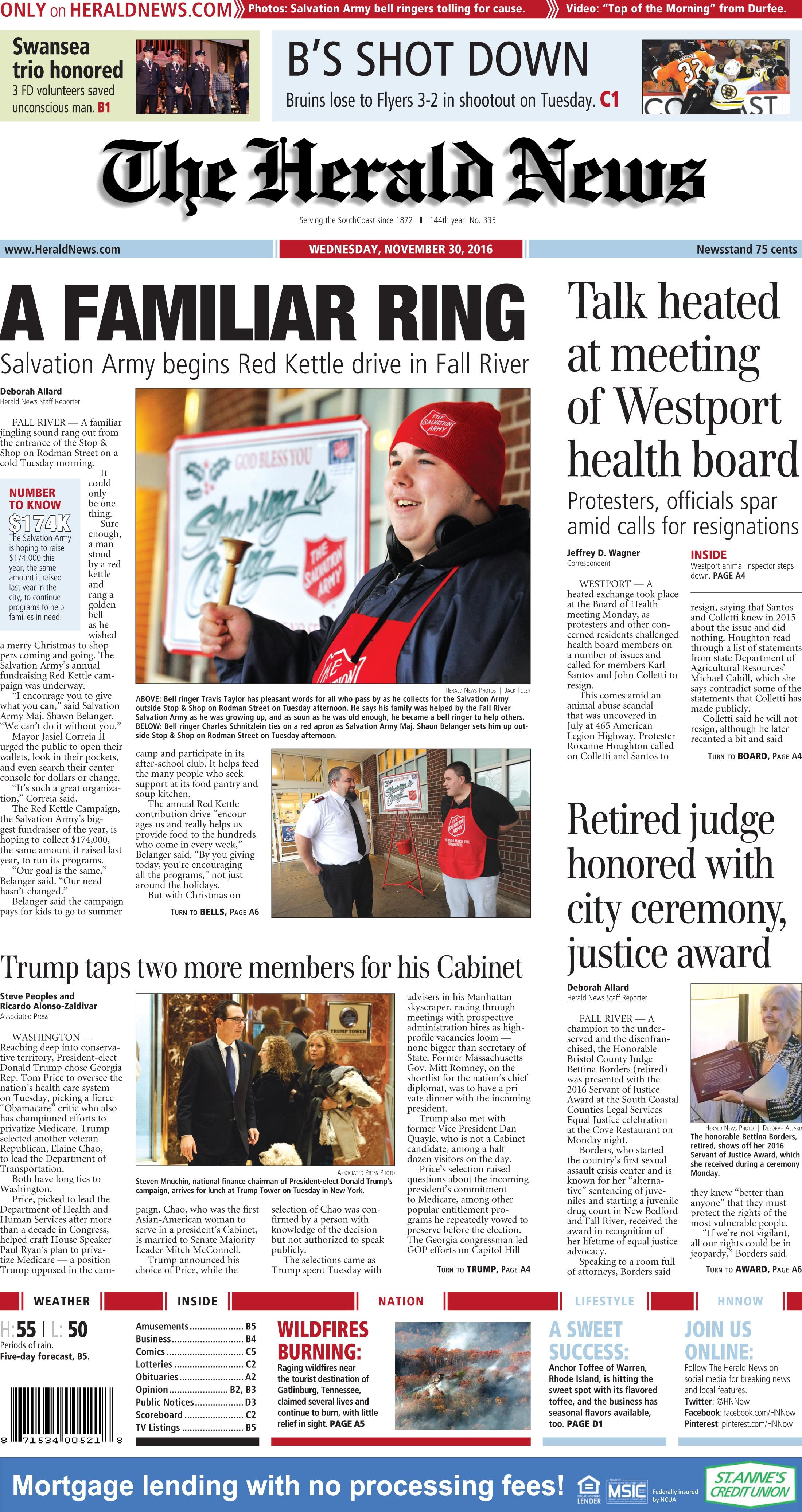 The Front Page Of The Herald News For Wednesday Nov 30 2016 Herald News Herald Fall River