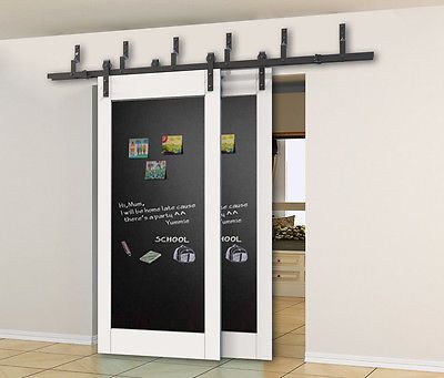 Details About Diyhd 5ft 10ft Rustic Black Bypass Double Sliding Barn Door Hardware Bypass Kit Wood Doors Interior Double Sliding Barn Doors Barn Doors Sliding