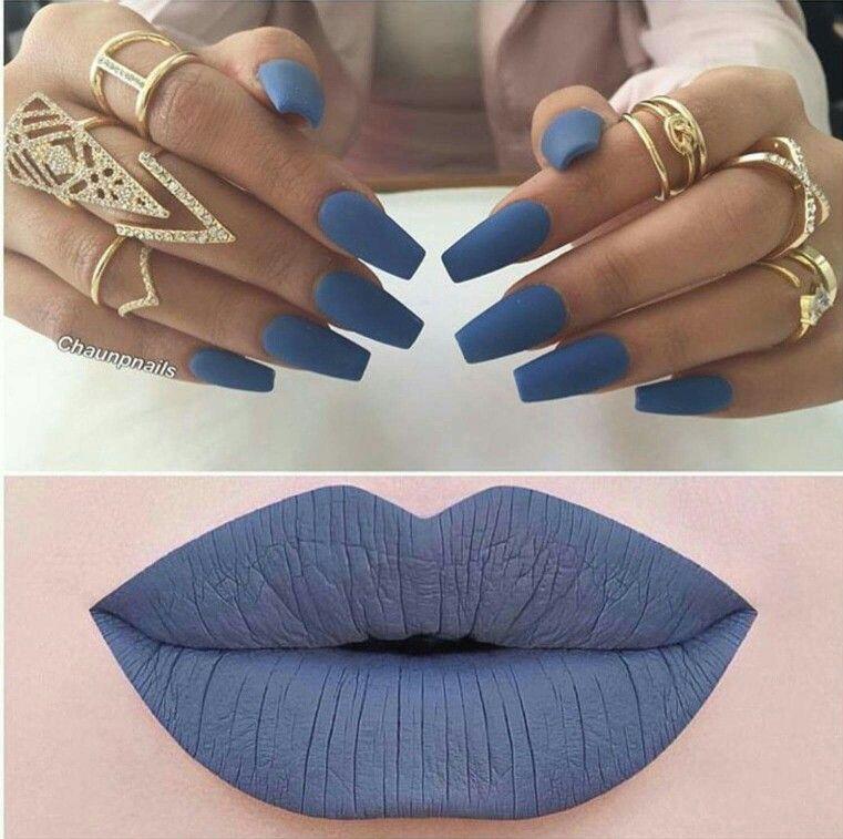 Matte Blue Nails Lips More