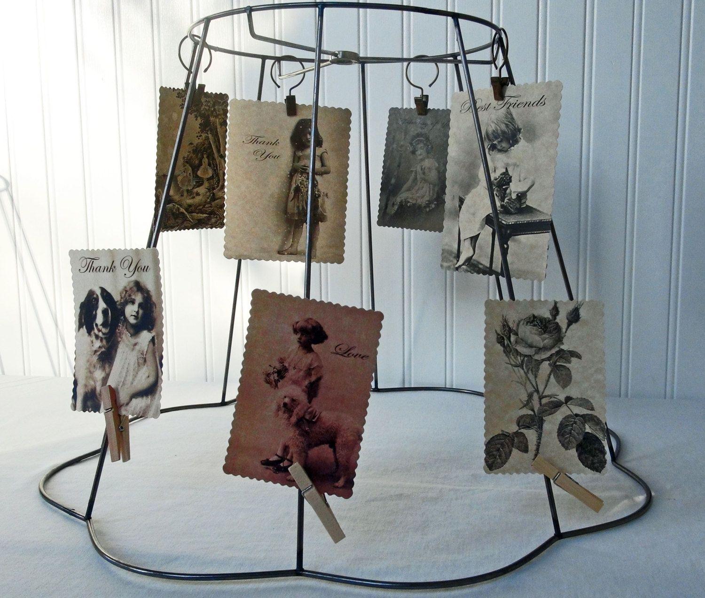 Vintage wire lamp shade frame postcard holder by redouxchic diy vintage wire lamp shade frame postcard holder by redouxchic diy lace lamp shade western greentooth Choice Image