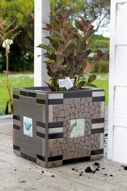 Simple yet elegant mosaic tile planter - by Sandra Holmes NZ