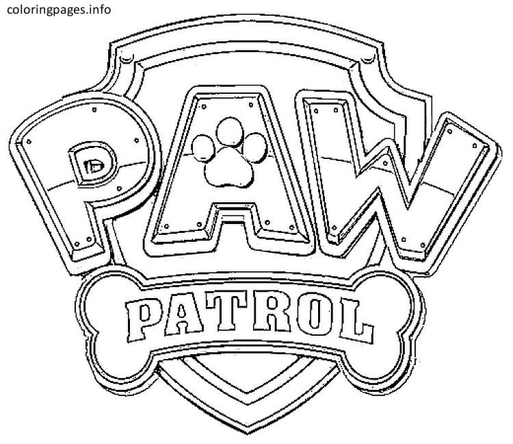 paw patrol shield coloring page