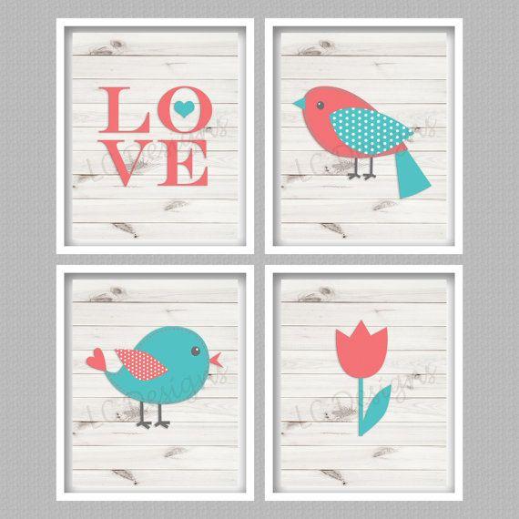 Bird Nursery Art Digital Prints  Set of 4  by PerfectlyMatched
