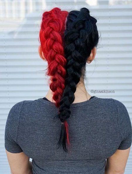 schwarz und rot halbe und halbe haarfarbe haarfarbe pinterest frisur rot bunte haare ve. Black Bedroom Furniture Sets. Home Design Ideas