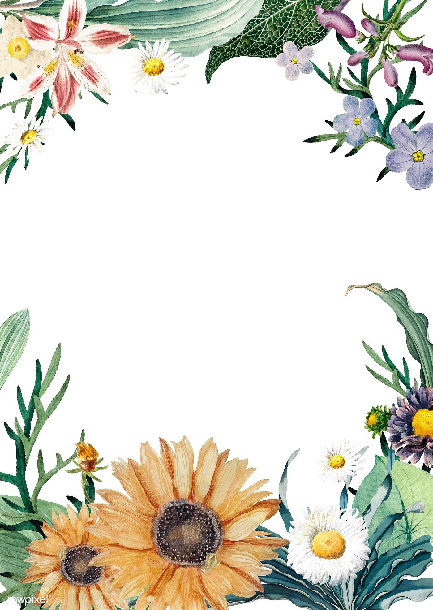 Floral framed invitation card vector free image by