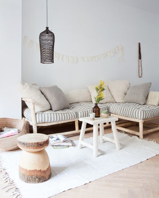 Interior Inspiration From VTWonen - i love this wooden little stool in different colors/wood patterns