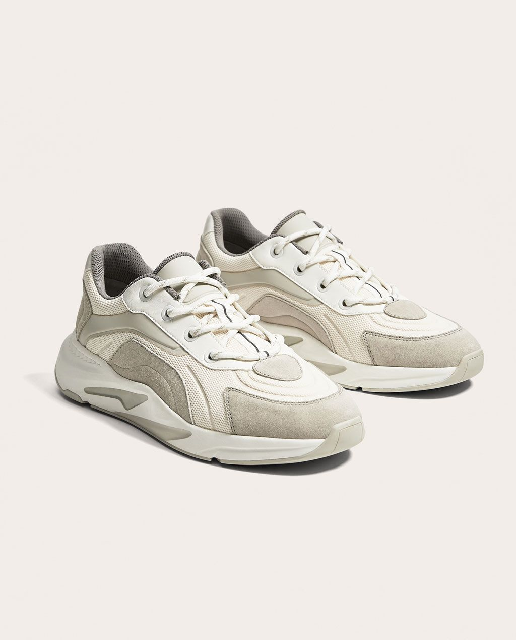 WHITE AND GREY SNEAKERS WITH THICK SOLES-NEW IN-MAN | ZARA United States