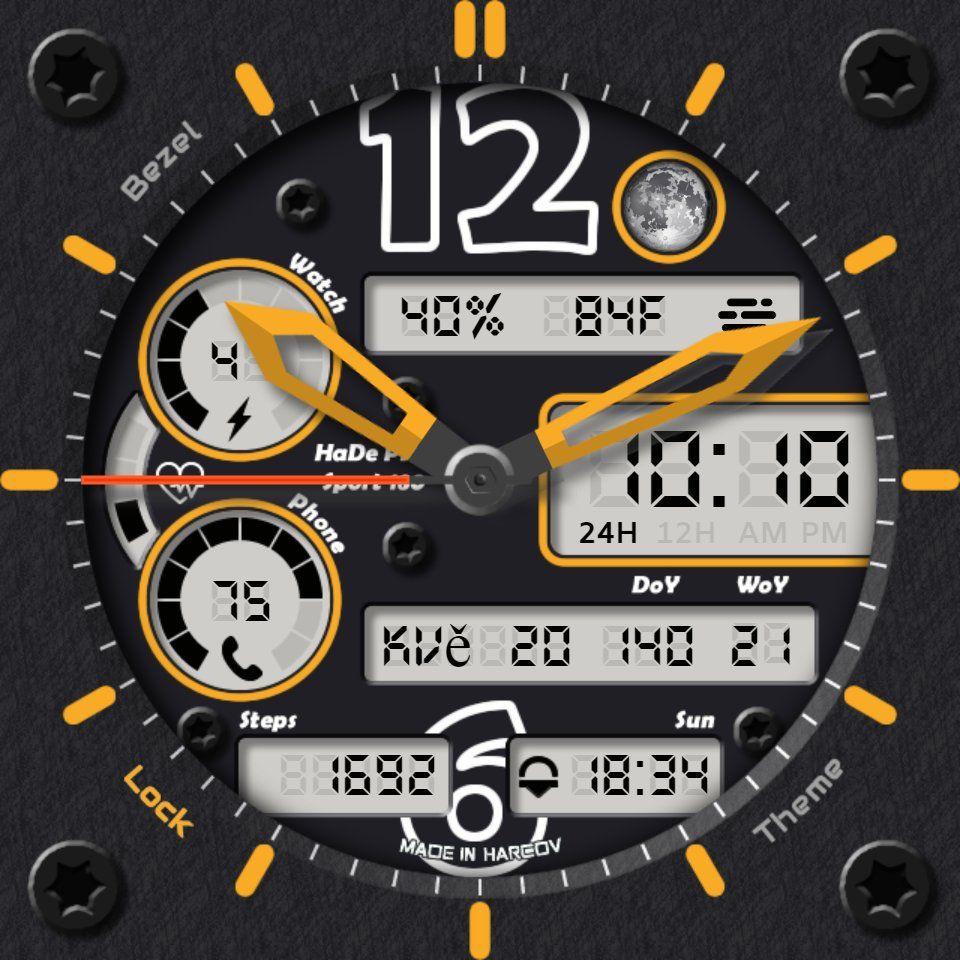 A dark sporty look. Hidable clock hands, App Launcher
