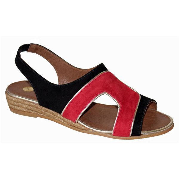 Eric Michael Diana Sandals ($31) ❤ liked on Polyvore featuring shoes, sandals, red, red shoes, low shoes, eric michael sandals, eric michael shoes and heeled sandals