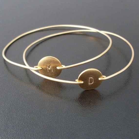 Personalized Friendship Bracelet Set Gold 2 Custom Initial Bangles Best Friend Gift Jewelry