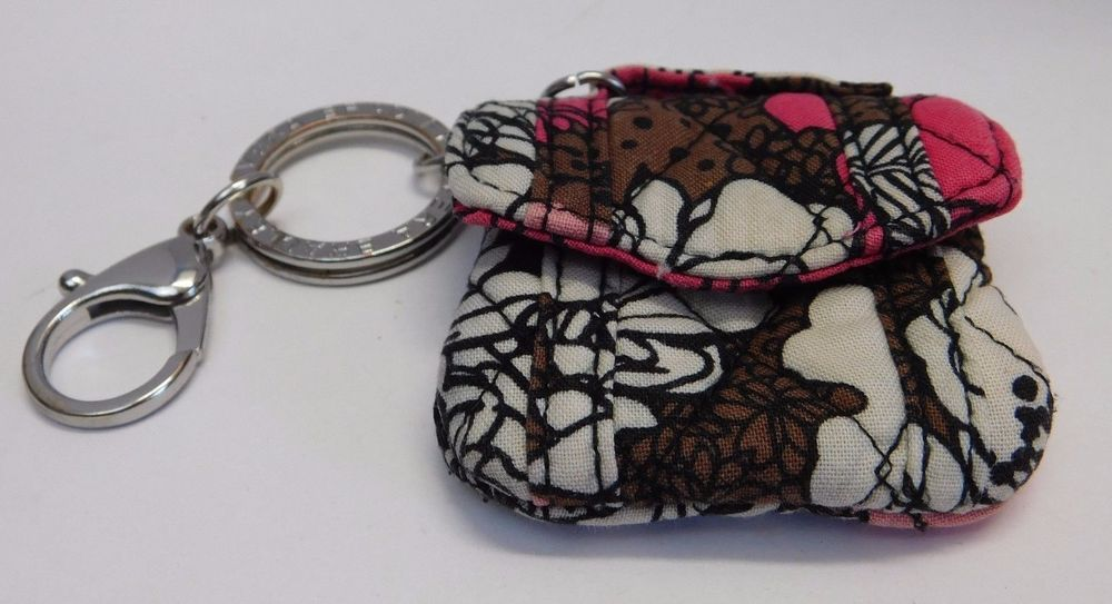 Vera Bradley Mocha Rouge Mini Attache Charm Coin Purse Handbag Keychain HTF #VeraBradley