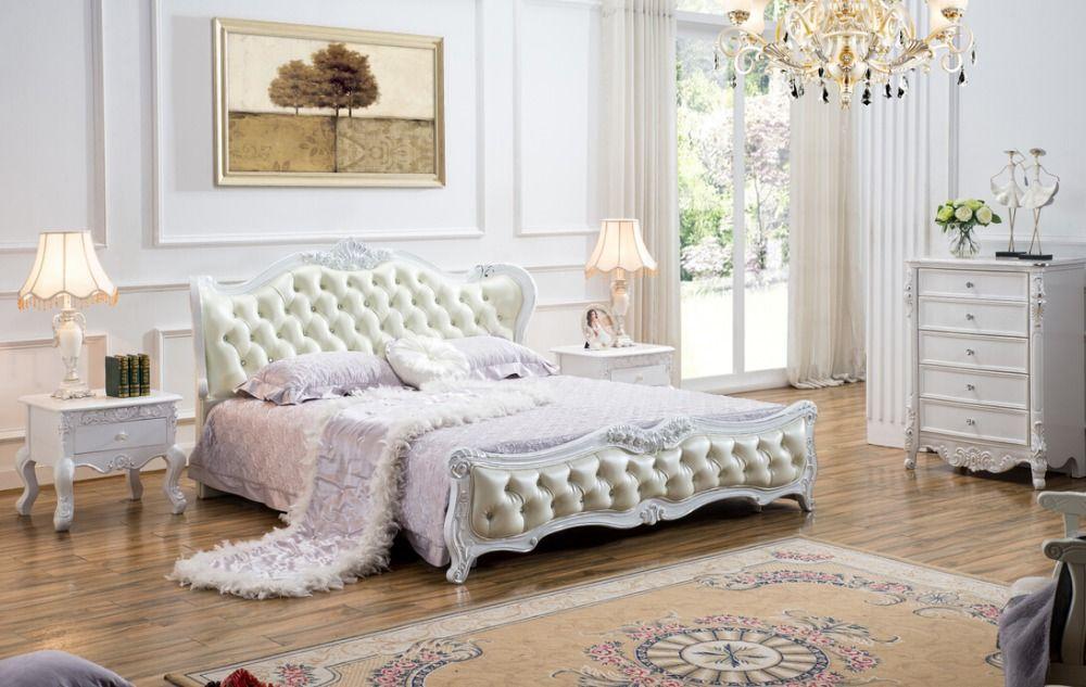 Rococo Bed Kopen : High end massief hout en lederen bed slaapkamer meubels barokke