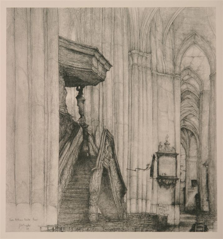 Jules De Bruycker - Tekeningen - potlood, inkt, ingekleurde, krijt - Dessins - Drawings/A0017 ST.NIKLAASKERKE
