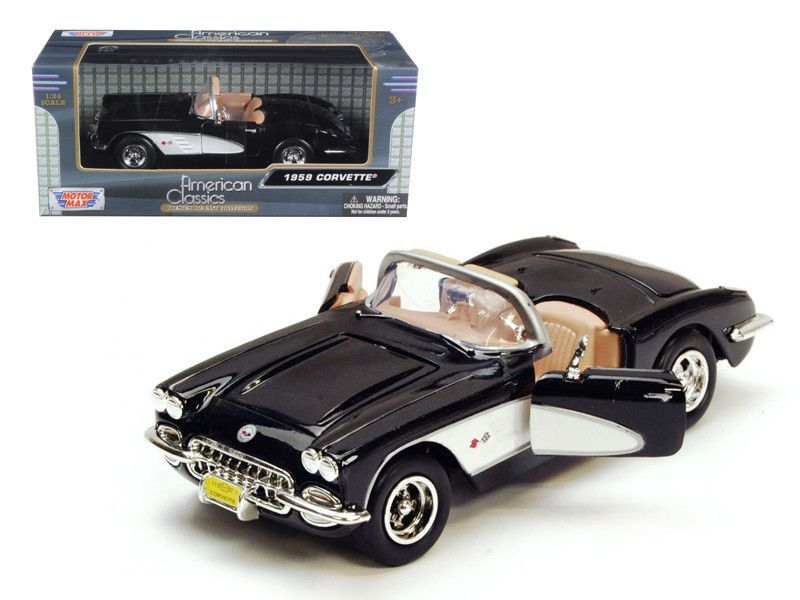 - Brand new 1:24 scale diecast model of 1959 Chevrolet Corvette die cast car model by Motormax. - Brand new box. - Rubber tires. - Has opening hood, doors and trunk. - Made of diecast with some plasti                                                                                                                                                                                 More