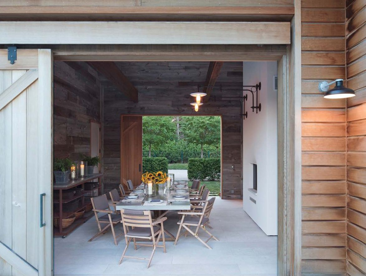 Indoor Outdoor Dining Room Barn Sliding Doors Modern