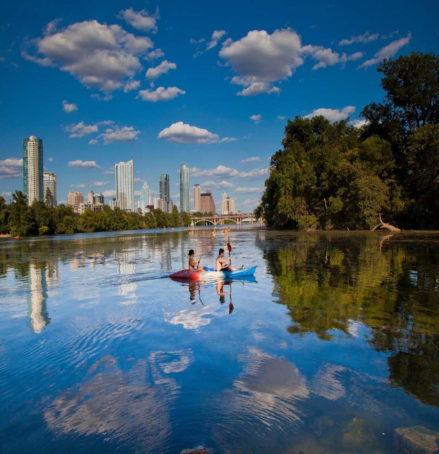 Kayaking on lady bird lake hometown tourist weekend in