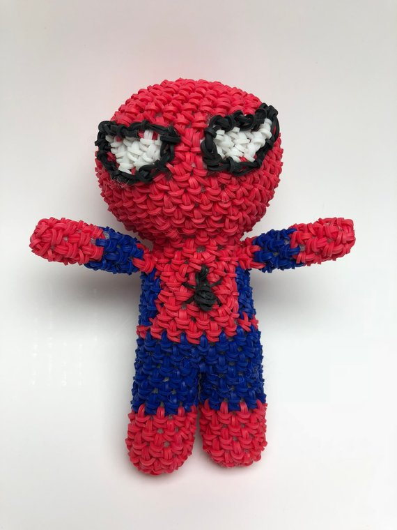 This is a graphic of Effortless Rainbow Loom Spiderman Face Coloring
