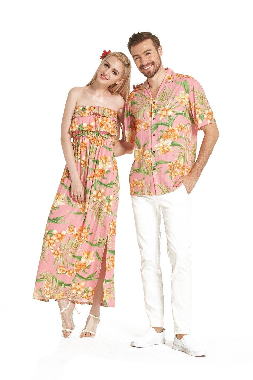 22884997 Premium COUPLE MATCHING MADE IN HAWAII MEN SHIRT AND WOMEN Revised Muumuu  Dress in Pink Floral