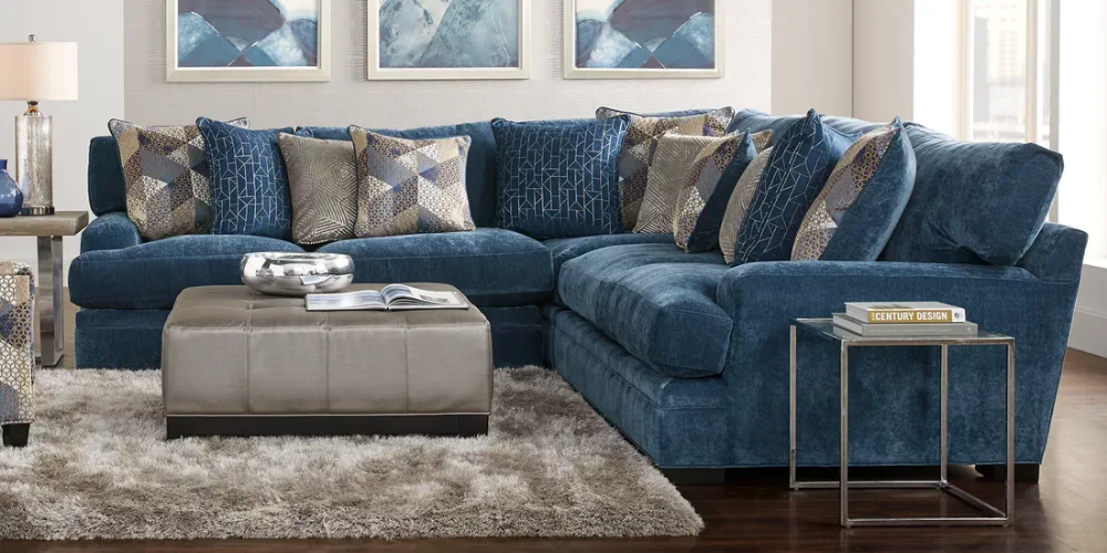 Cindy Crawford Home Beverlywood Navy 3 Pc Sectional Rooms To Go