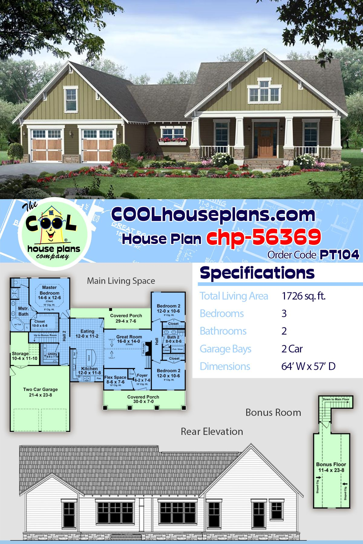 Traditional Style House Plan 59979 With 3 Bed 2 Bath 2 Car Garage Craftsman House Plans Craftsman Floor Plans House Plans