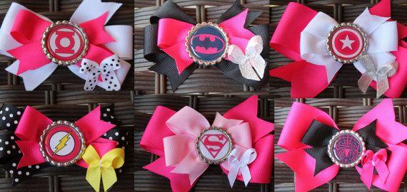 6 super girl hair bows hero