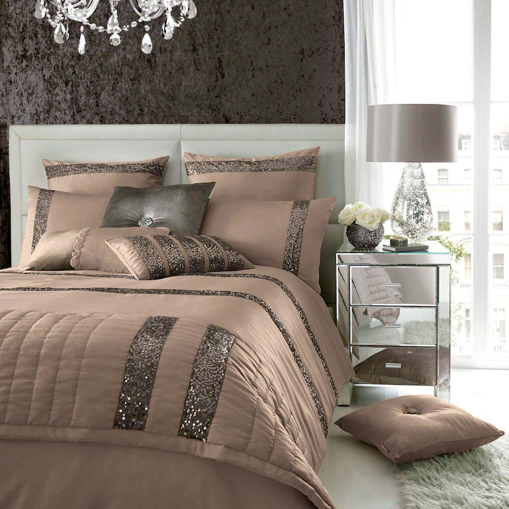 Safia Truffle Sequin Detail Duvet Quilt Cover Bedding By Kylie