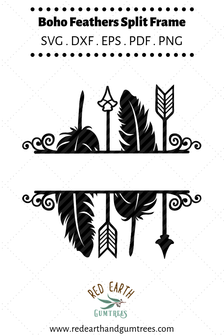 Arrows and feathers split monogram frame in SVG,DXF,PNG,EPS formats #cricutvinylprojects