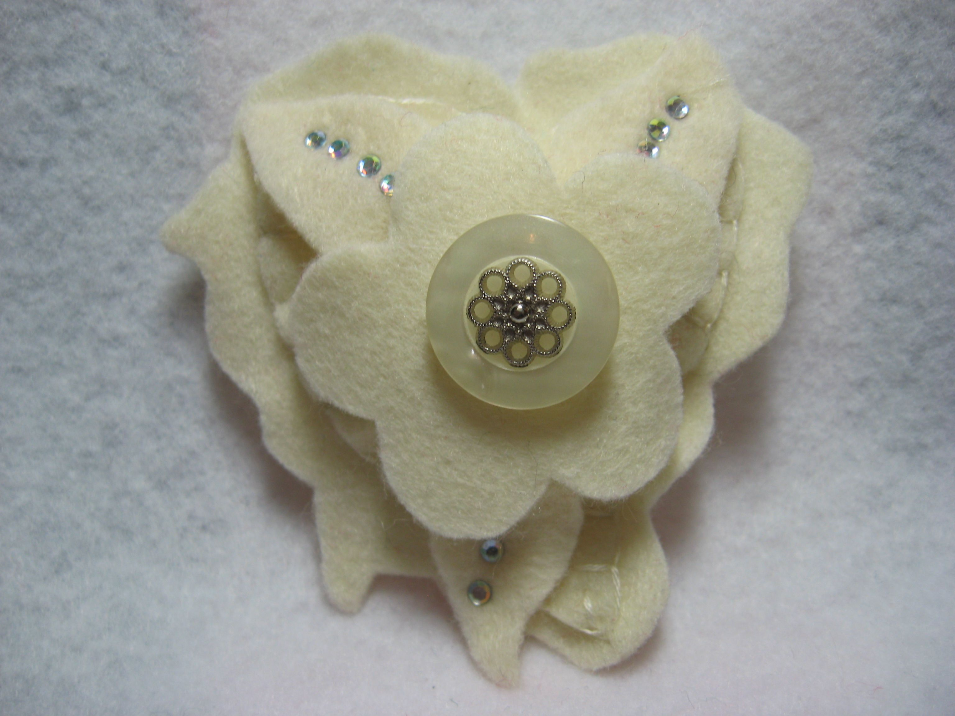 Valentine brooch Wool felt pin cream on cream