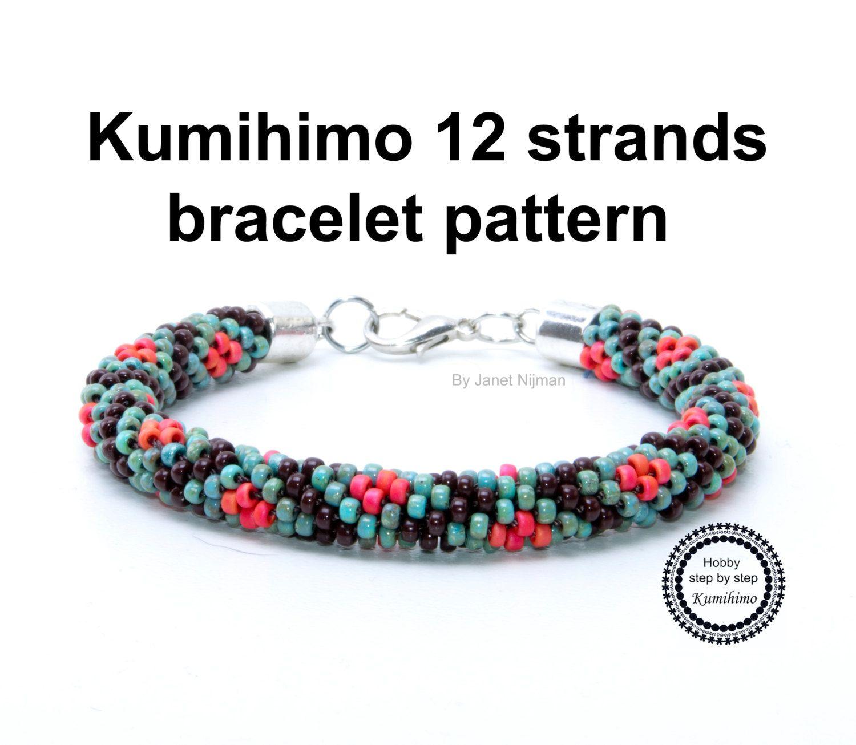 Kumihimo Tutorial Diamond Pattern 12 Strands Pattern Etsy Kumihimo Kumihimo Patterns Bracelets