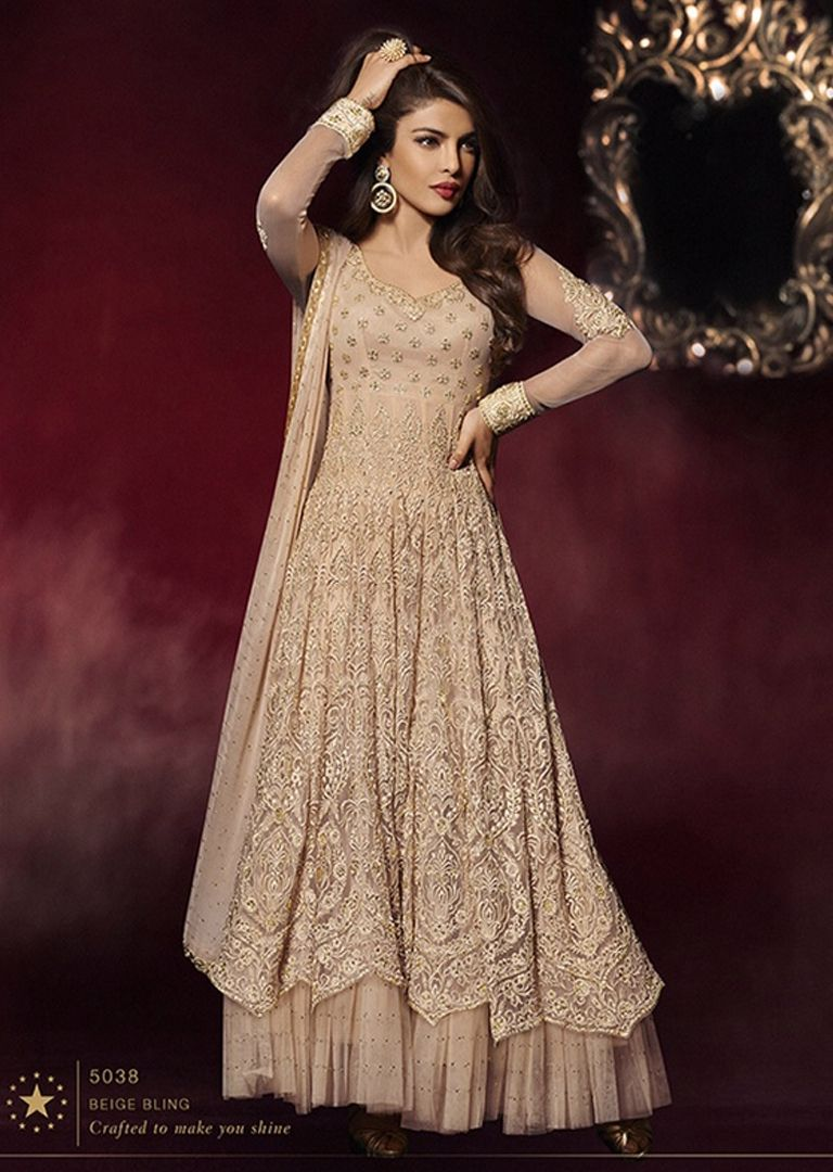 adc33e317 PINK PEACH COLOUR. Long Indian Dress in Beige Blink georgette fine net semi  stitched anarkali style kameez designed with Embroidered zari