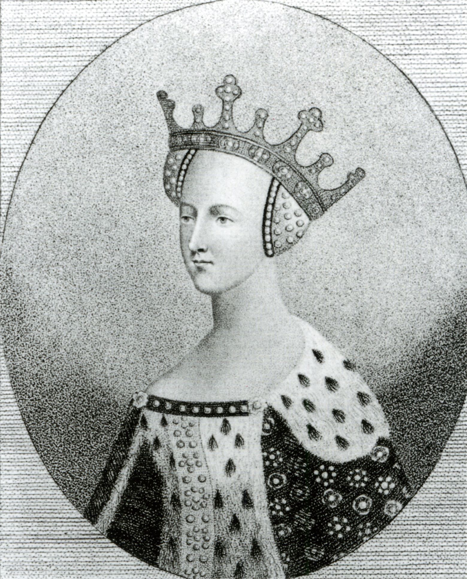 """Henry V of England's Queen, Catherine of France, 1401-37. Unknown engraver, 18th century. Engraving, 19 x 14cm (7 1/2 x 5 1/2""""). National Portrait Gallery (RN27247). National Portrait Gallery, London: NPG D9396"""