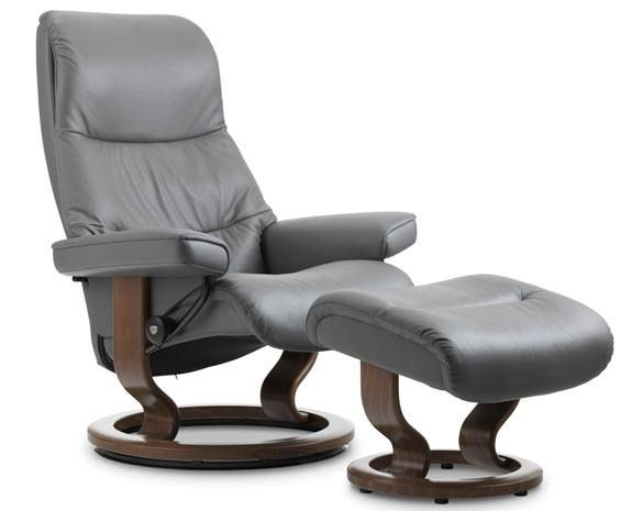 stressless view chair and ottoman in metal gray classic base metal gray paloma leather wenge wood finish