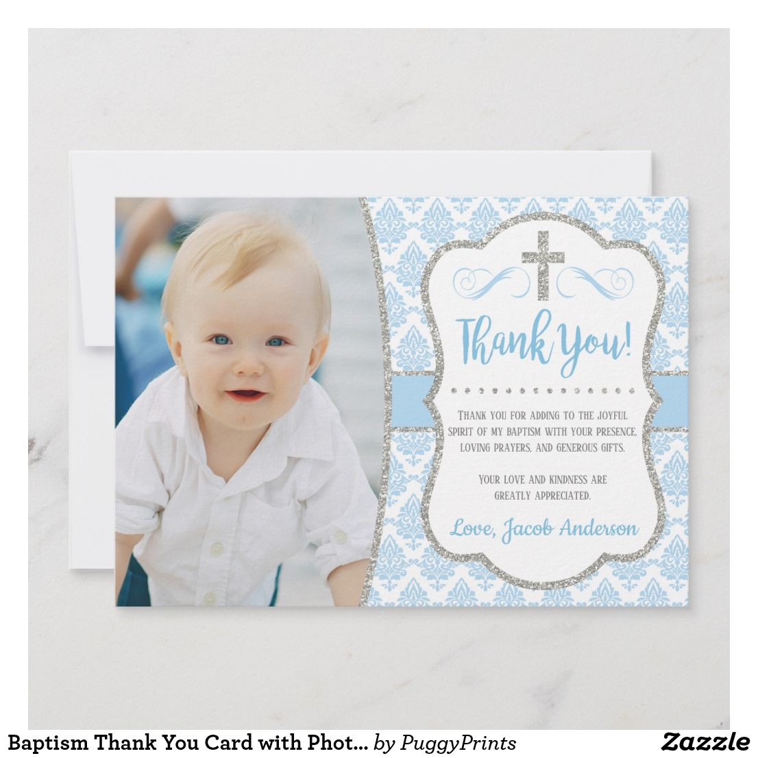 With or without Envelopes Cute Baby design 16 A6 Christening Invitations