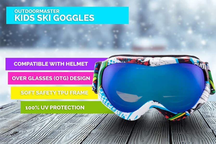 36e5aa645fd5 Amazon.com   OutdoorMaster Kids Ski Goggles - Helmet Compatible Snow Goggles  for Boys  amp