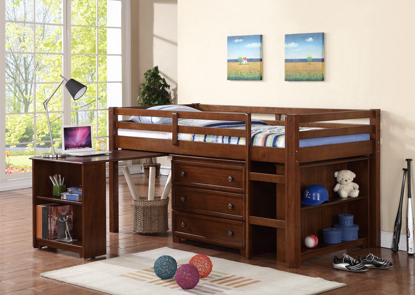 Dcor Design Donco Kids Twin Low Loft Bed With Roll Out Desk Chest