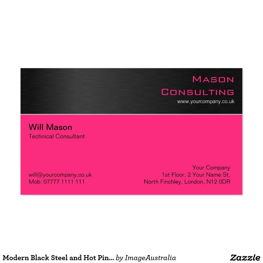Modern Black Steel and Hot Pink Business Card | Steel / Metal ...