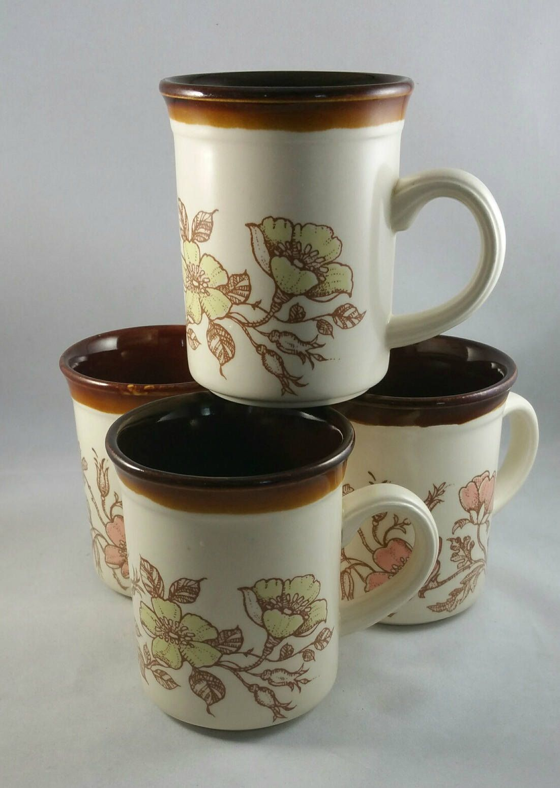 Vintage Bilton's Stoneware Coffee Mug Set, Set Of 4 Coffee